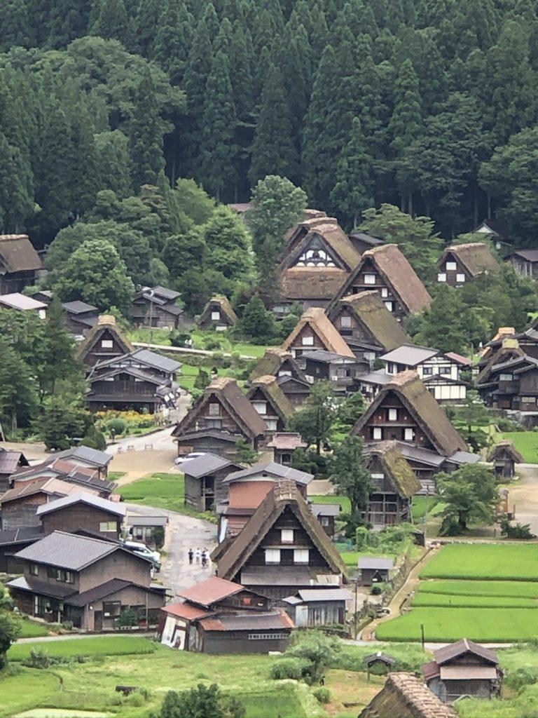 The village of Shirakawago, Japan in the summer.